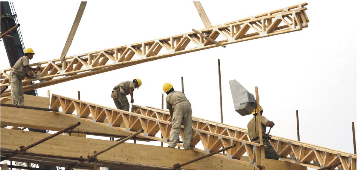 轻型木结构楼盖桁架及其施工方法