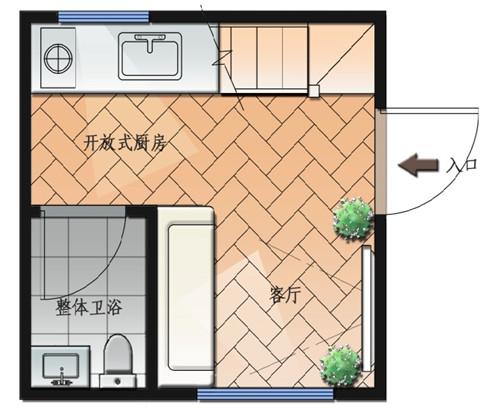 木结构单身公寓一层平面